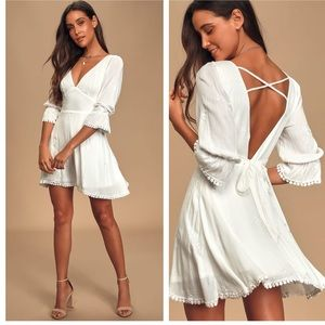 Lulu's In the Meadow White Embroidered Mini Dress